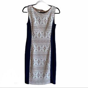Anne Klein size 4 midi dress navy and cream